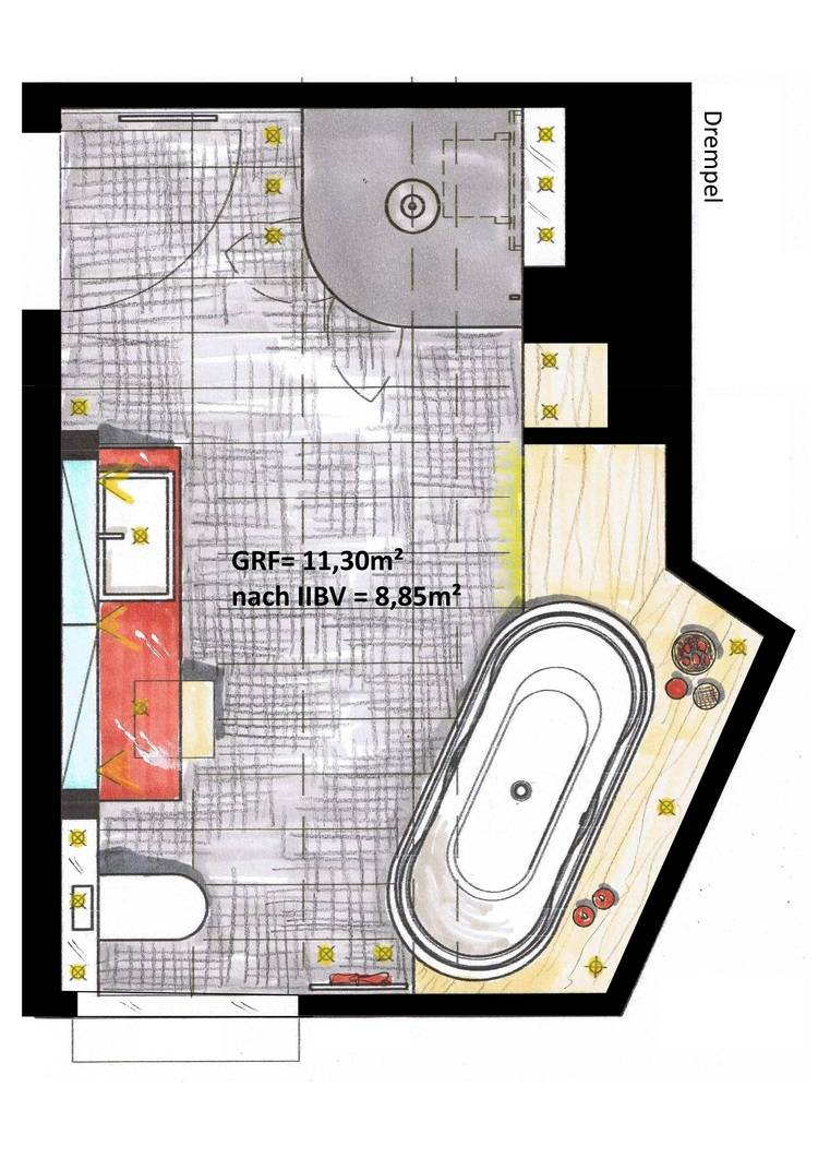 Bild 2: Die übliche Darstellung Eines Grundrisses Mit Gestrichelter Zwei  Meter Linie Vermittelt