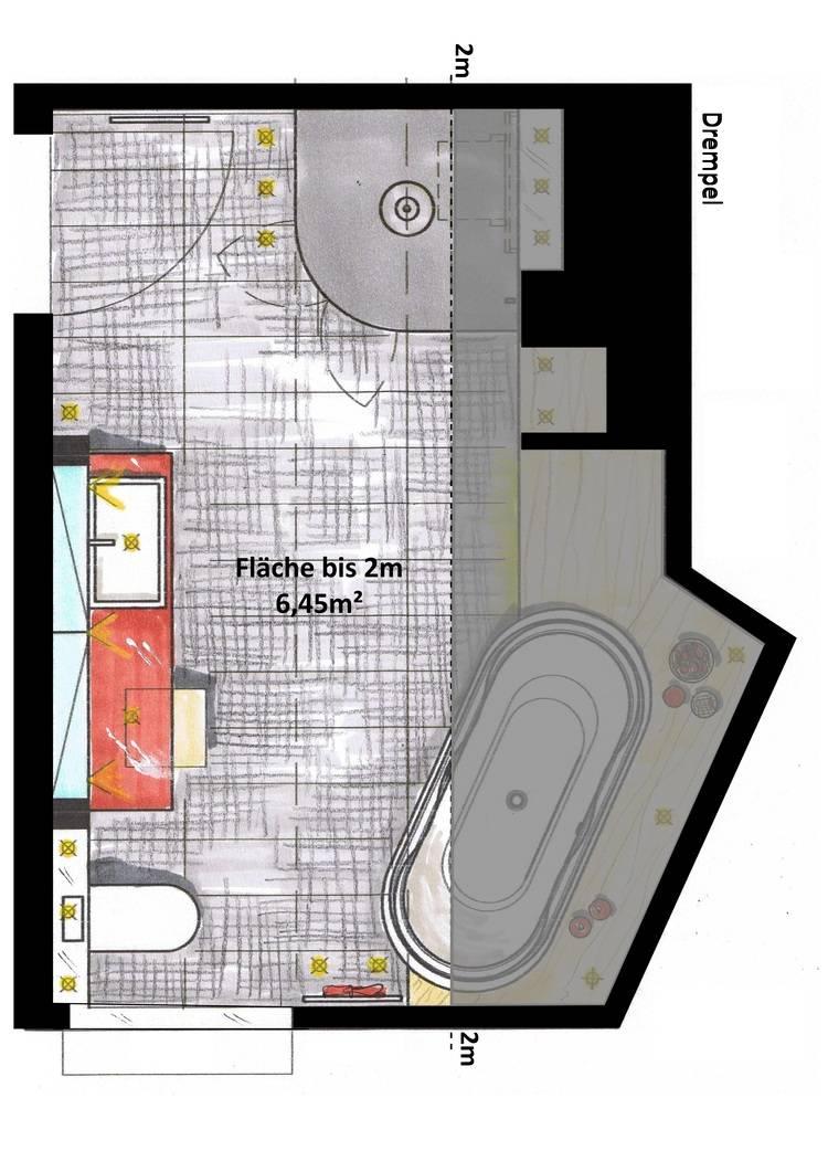 Bild 3: Gleicher Grundriss: Die Fläche Mit Weniger Als 2m Stehhöhe Ist Grau  Angelegt