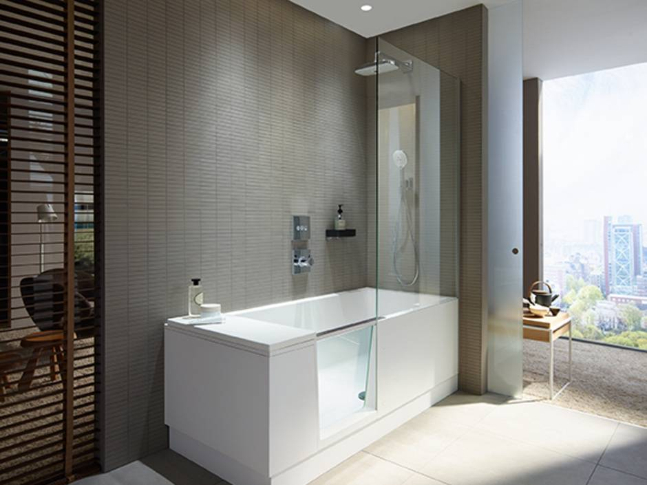 duravit walk in dusche und badewanne in einem haustec. Black Bedroom Furniture Sets. Home Design Ideas