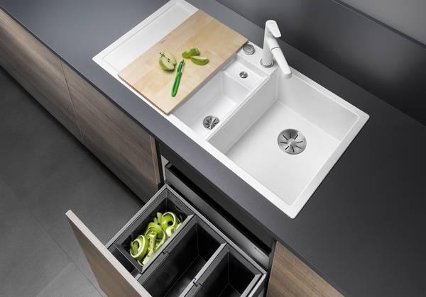 silgranit sp le blanco collectis 6 s mit bio abfall depot haustec. Black Bedroom Furniture Sets. Home Design Ideas
